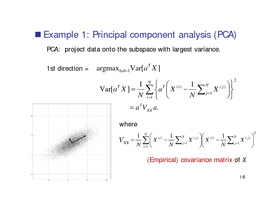 Slide:  Example 1: Principal component analysis (PCA) PCA: project data onto the subspace with largest variance. 1st direction =  argmax ||a||1Var[a T X ] Var[a T X ]   T  (i ) 1  a  X  N  i 1   a T VXX a. 1 N N   X ( j )   j 1   N  2  where 1 VXX  N  (i ) 1  X  N i 1  N  1  X ( j )  X ( i )   j 1  N N   X ( j)   j 1  N  T  (Empirical) covariance matrix of I-6