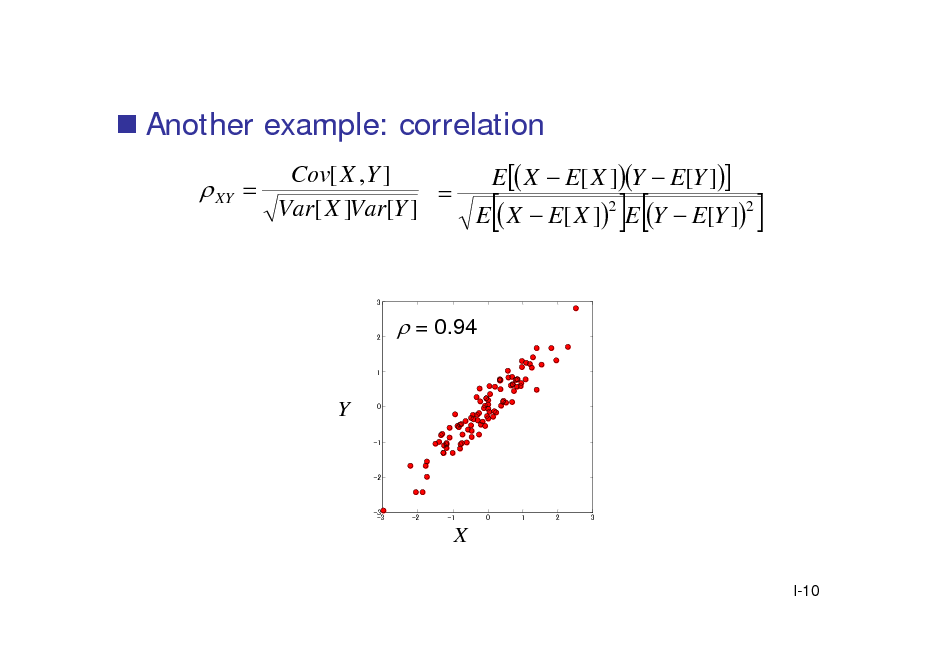 Slide:  Another example: correlation  XY Cov[ X , Y ] E  X  E[ X ]Y  E[Y ]   2 2 Var[ X ]Var[Y ] E  X  E[ X ] E Y  E[Y ]        3  2   = 0.94  1  Y  0  -1  -2  -3 -3  -2  -1  0  1  2  3  X I-10