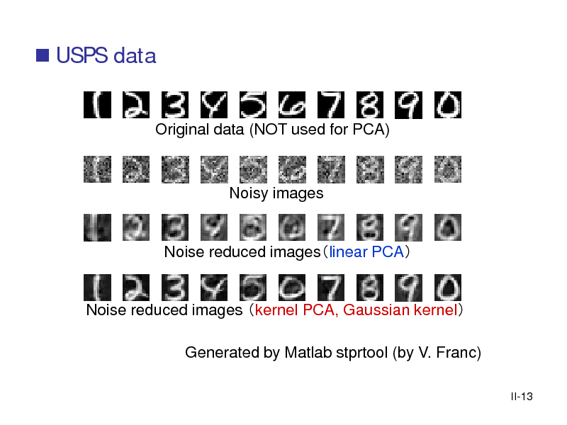 Slide:  USPS data  Original data (NOT used for PCA)  Noisy images  Noise reduced imageslinear PCA  Noise reduced images kernel PCA, Gaussian kernel Generated by Matlab stprtool (by V. Franc) II-13