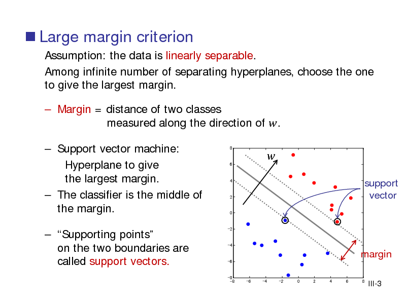 Slide:  Large margin criterion Assumption: the data is linearly separable. Among infinite number of separating hyperplanes, choose the one to give the largest margin.  Margin = distance of two classes measured along the direction of . 8 6 4   Support vector machine: Hyperplane to give the largest margin.  The classifier is the middle of the margin.  Supporting points on the two boundaries are called support vectors.    2  support vector  0  -2  -4  -6  margin -6 -4 -2 0 2 4 6 8  -8 -8  III-3