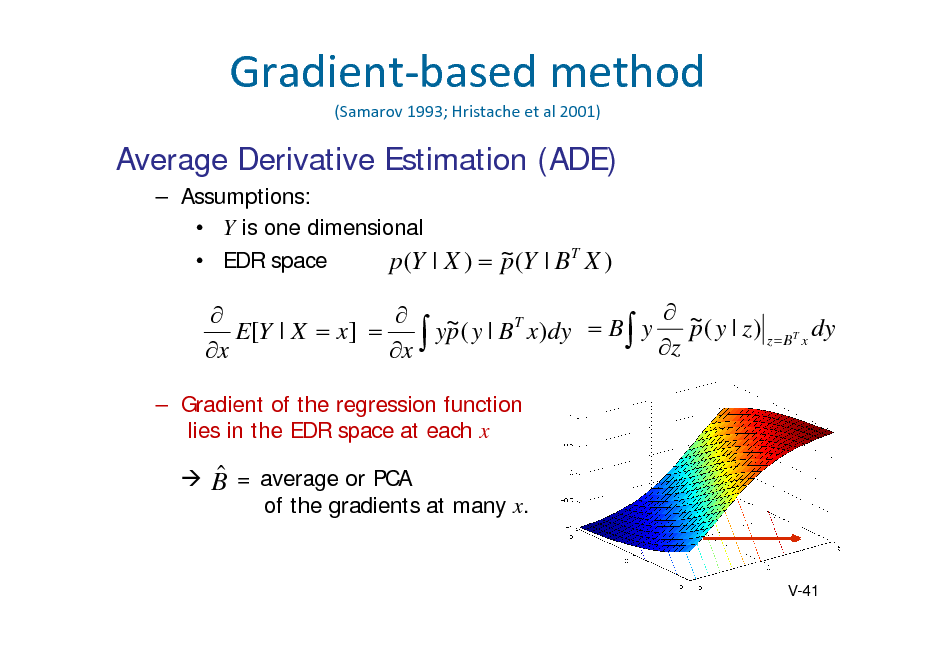 Slide: Gradientbasedmethod (Samarov 1993;Hristache etal2001)  Average Derivative Estimation (ADE)  Assumptions:  Y is one dimensional  EDR space p (Y | X )  ~ (Y | B T X ) p    ~ ( y | B T x)dy  B y  ~ ( y | z ) T dy E[Y | X  x]   yp  z p zB x x x  Gradient of the regression function lies in the EDR space at each x    B = average or PCA of the gradients at many x.  V-41