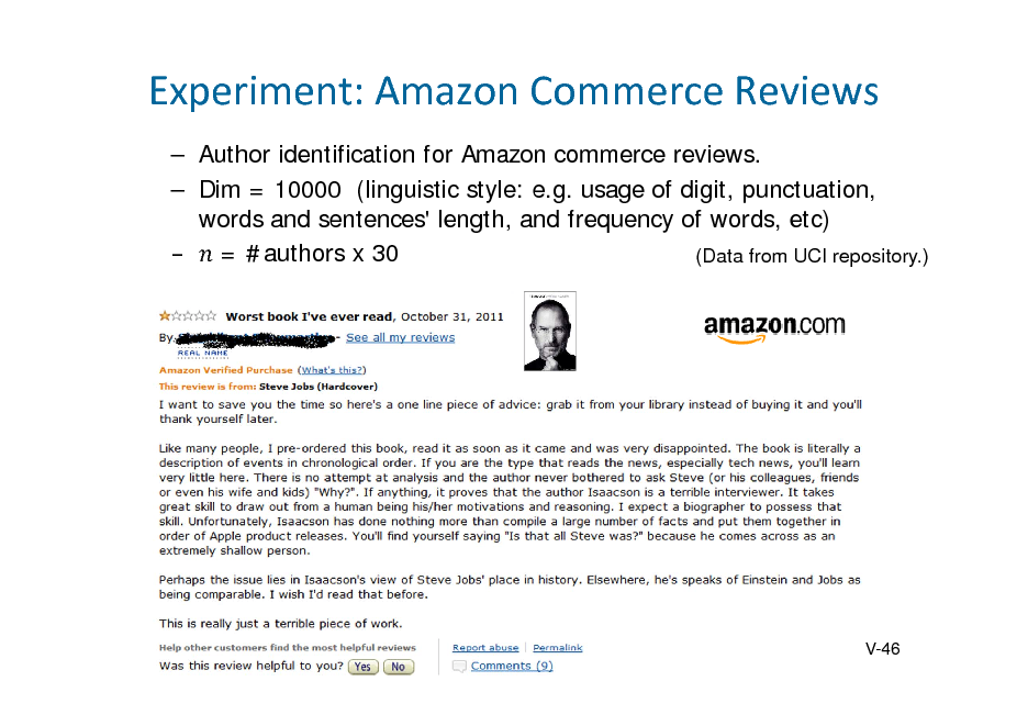 Slide: Experiment:AmazonCommerceReviews  Author identification for Amazon commerce reviews.  Dim = 10000 (linguistic style: e.g. usage of digit, punctuation, words and sentences' length, and frequency of words, etc)  = #authors x 30 (Data from UCI repository.)  V-46