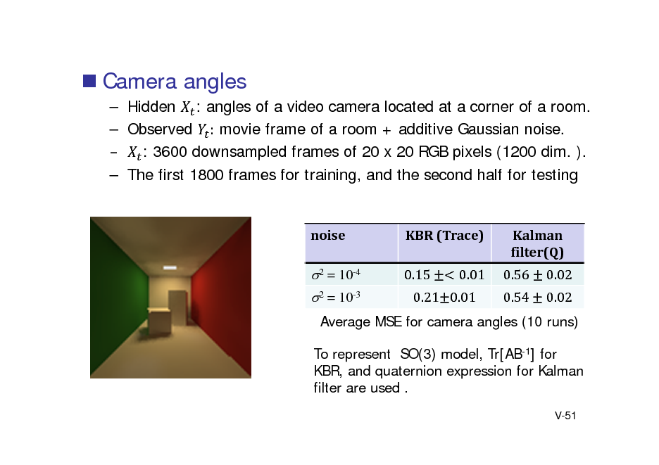 Slide:  Camera angles  Hidden : angles of a video camera located at a corner of a room.  Observed : movie frame of a room + additive Gaussian noise.  : 3600 downsampled frames of 20 x 20 RGB pixels (1200 dim. ).  The first 1800 frames for training, and the second half for testing  noise  KBR	(Trace) 0.15 0.01  Kalman filter(Q) 0.56 0.54 0.02 0.02  2 = 10-4 2 = 10-3  0.21 0.01  Average MSE for camera angles (10 runs) To represent SO(3) model, Tr[AB-1] for KBR, and quaternion expression for Kalman filter are used . V-51