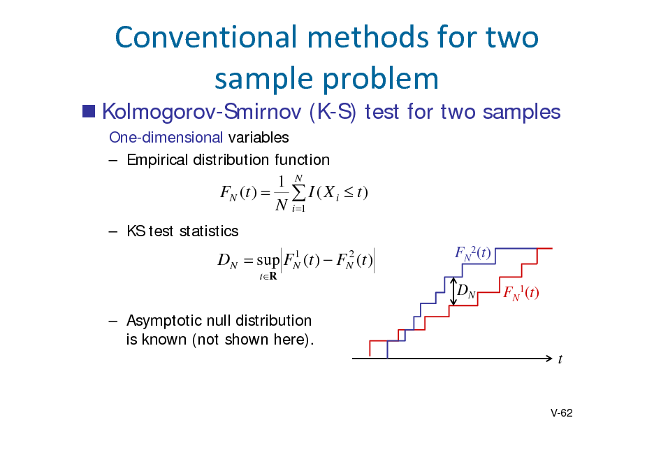 Slide:  Kolmogorov-Smirnov (K-S) test for two samples One-dimensional variables  Empirical distribution function  Conventionalmethodsfortwo sampleproblem 1 N FN (t )   I ( X i  t ) N i 1   KS test statistics  DN   1 sup FN (t )  tR  2 FN (t )  FN2(t) DN FN1(t)   Asymptotic null distribution is known (not shown here).  t  V-62