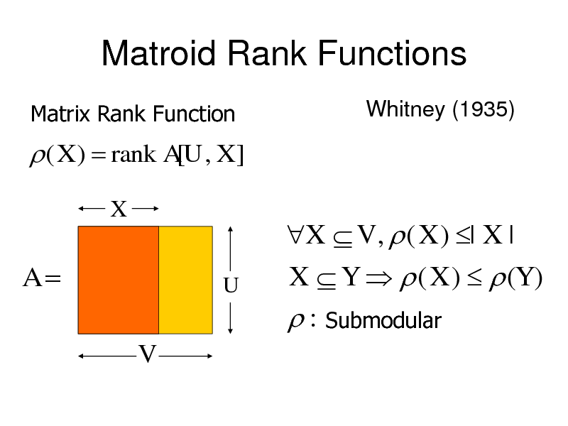 Slide: Matroid Rank Functions Matrix Rank Function Whitney (1935)   ( X )  rank A[U , X ] X  A V  U  X  V ,  ( X ) | X | X  Y   ( X )   (Y )  : Submodular