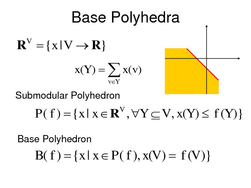 Slide: Base Polyhedra R  {x | V  R} V  x(Y )   x(v) vY  Submodular Polyhedron  P( f )  {x | x  R , Y  V , x(Y )  f (Y )} V  Base Polyhedron  B( f )  {x | x  P( f ), x(V )  f (V )}