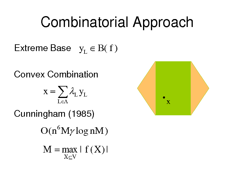Slide: Combinatorial Approach Extreme Base yL  B( f ) Convex Combination  x   L y L L  x  Cunningham (1985)  O(n6 M log nM )  M  max | f ( X ) | X V