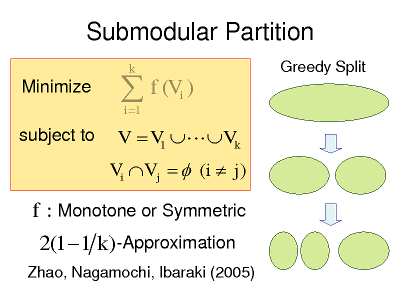 Slide: Submodular Partition Minimize subject to   f (V ) i 1 i  k  Greedy Split  V  V1  Vk Vi V j   (i  j )  f : Monotone or Symmetric  2(1  1 k )-Approximation Zhao, Nagamochi, Ibaraki (2005)