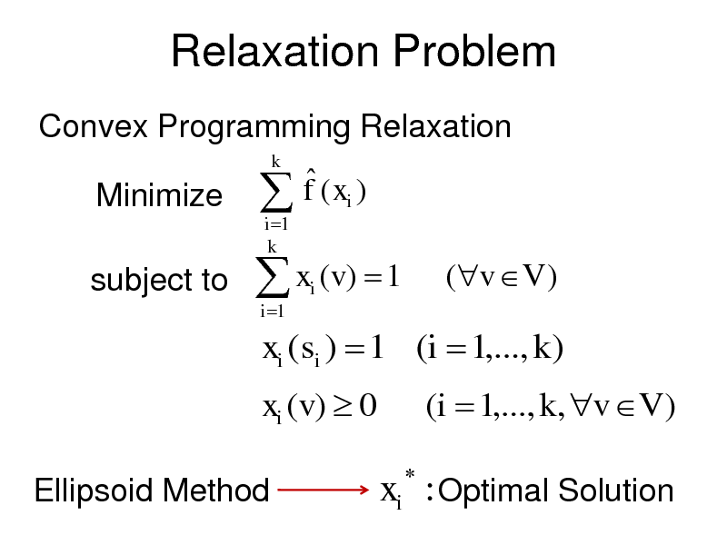 Slide: Relaxation Problem Convex Programming Relaxation  Minimize subject to   i 1 k  k   f ( xi ) i   x (v )  1 i 1  (v V )  xi (si )  1 (i  1,..., k ) xi (v)  0 Ellipsoid Method   (i  1,..., k , v V )  xi : Optimal Solution