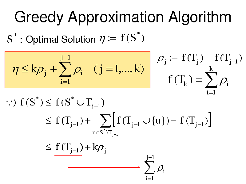 Slide: Greedy Approximation Algorithm S : Optimal Solution  : f (S ) * *    k j   i ( j  1,..., k ) i 1  j 1   j : f (T j )  f (T j 1 )  f (Tk )   i i 1  k  ) f ( S )  f ( S  T j 1 ) * *   f (T j 1 )   uS * \T j 1    f (T  j 1   {u})  f (T j 1 ) j 1     f (T j 1 )  k j   i 1  i