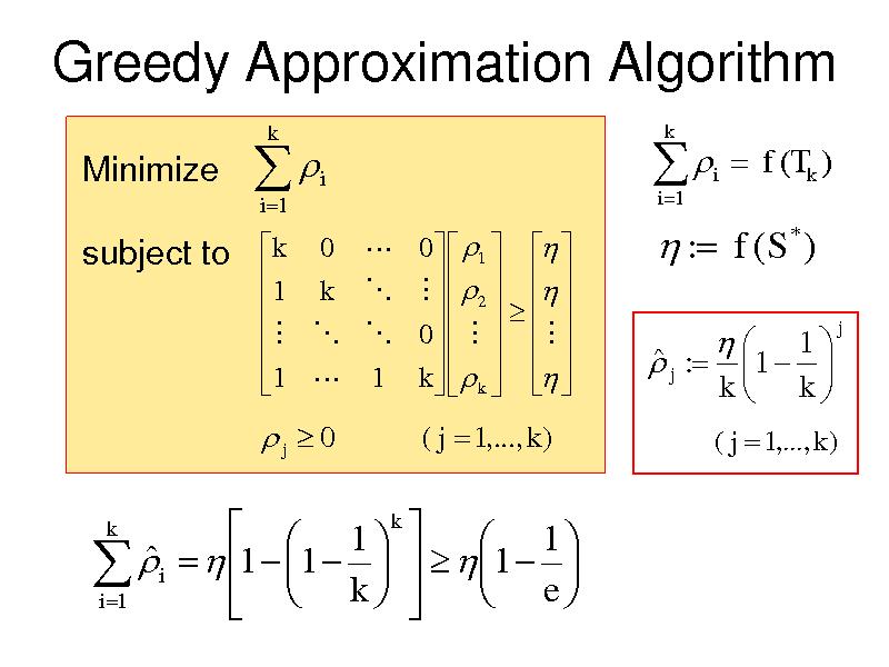 Slide: Greedy Approximation Algorithm Minimize   i 1  k  i   i 1  k  i   f (Tk ) *  subject to  k 0  0   1    1 k           2         0            1  1 k    k      : f (S )   j :    1 1   k k  j  j  0 k  ( j  1,..., k )  ( j  1,..., k )    1 k   1   i   1  1  k     1  e      i 1
