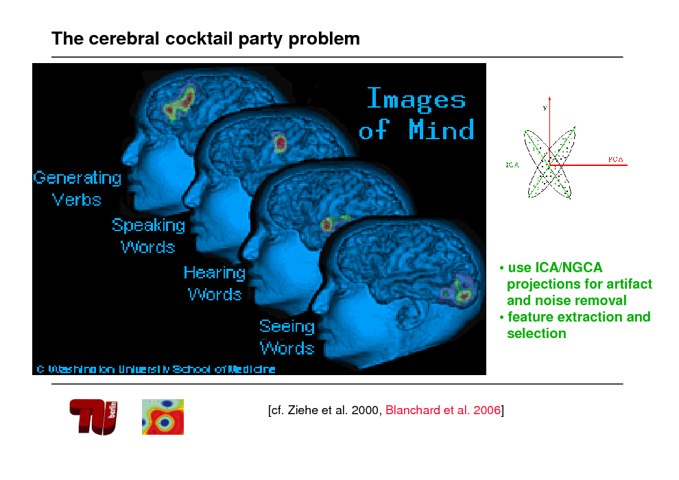 Slide: The cerebral cocktail party problem   use ICA/NGCA projections for artifact and noise removal  feature extraction and selection  [cf. Ziehe et al. 2000, Blanchard et al. 2006]