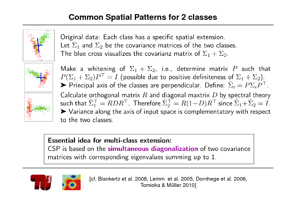 Slide: Common Spatial Patterns for 2 classes  [cf. Blankertz et al. 2008, Lemm et al. 2005, Dornhege et al. 2006, Tomioka & Mller 2010]