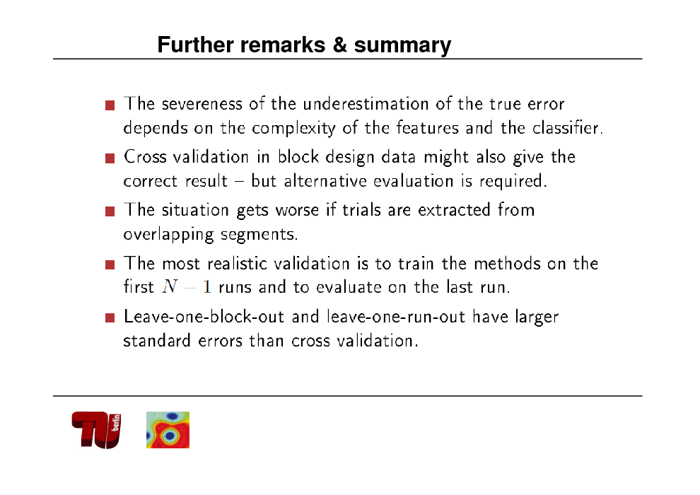 Slide: Further remarks & summary