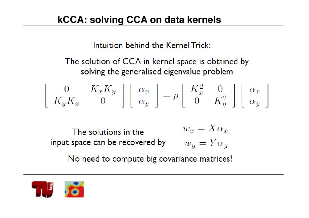 Slide: kCCA: solving CCA on data kernels