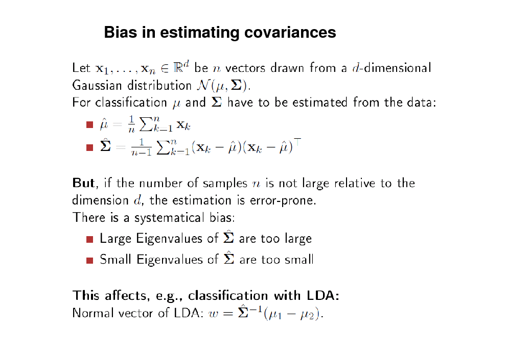 Slide: Bias in estimating covariances