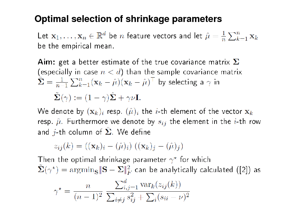 Slide: Optimal selection of shrinkage parameters