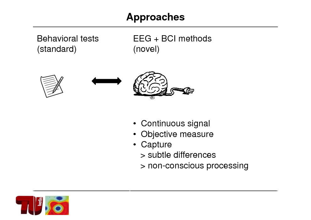 Slide: Approaches Behavioral tests (standard) EEG + BCI methods (novel)   Continuous signal  Objective measure  Capture > subtle differences > non-conscious processing