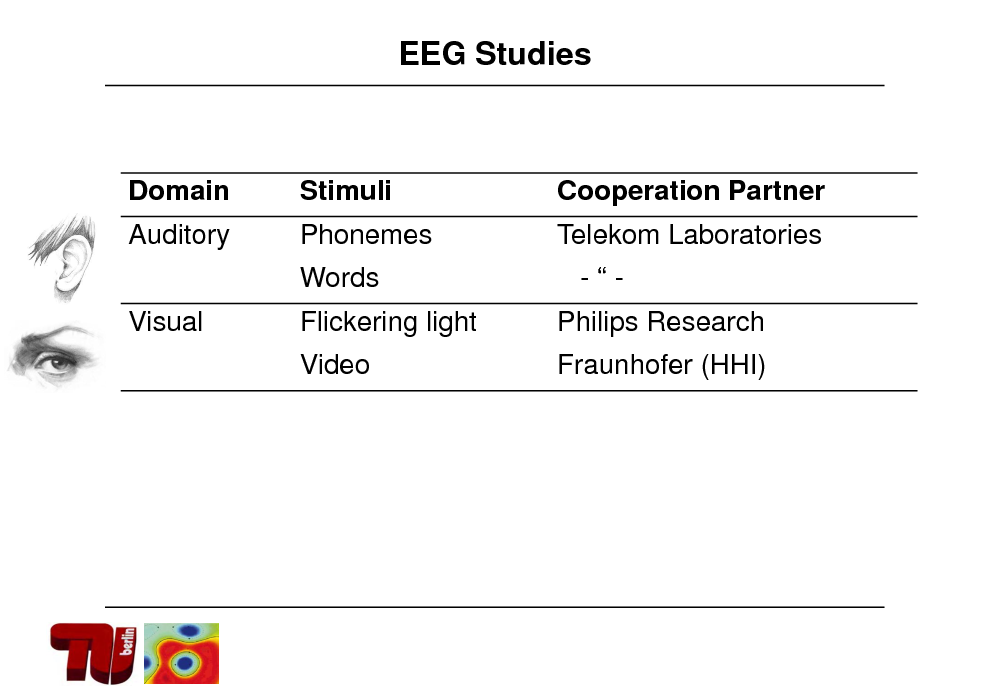 Slide: EEG Studies  Domain Auditory Visual  Stimuli Phonemes  Cooperation Partner Telekom Laboratories  Words Flickering light Video  -Philips Research Fraunhofer (HHI)