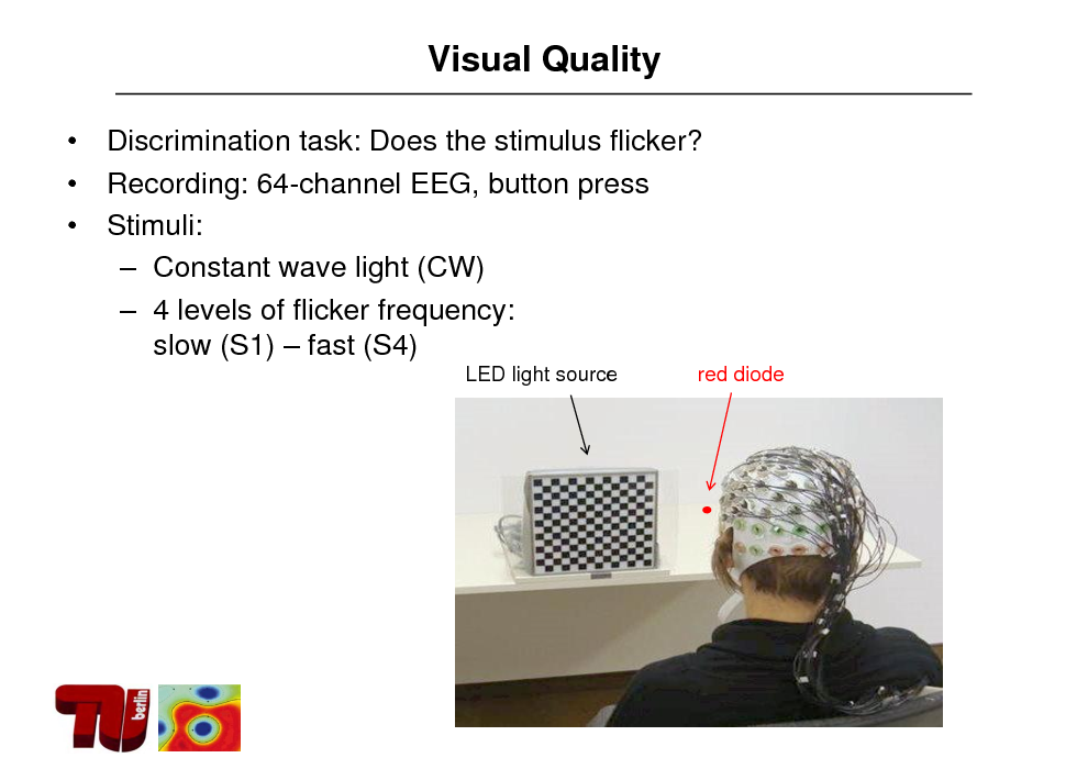 Slide: Visual Quality    Discrimination task: Does the stimulus flicker? Recording: 64-channel EEG, button press Stimuli:  Constant wave light (CW)  4 levels of flicker frequency: slow (S1)  fast (S4) LED light source red diode