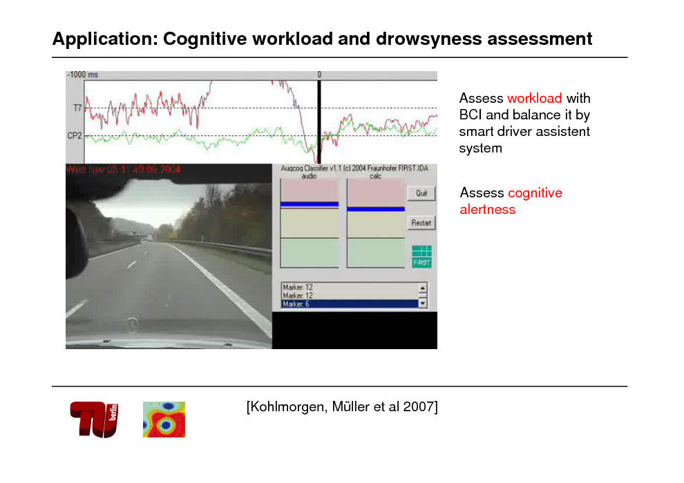 Slide: Application: Cognitive workload and drowsyness assessment Assess workload with BCI and balance it by smart driver assistent system Assess cognitive alertness  [Kohlmorgen, Mller et al 2007]
