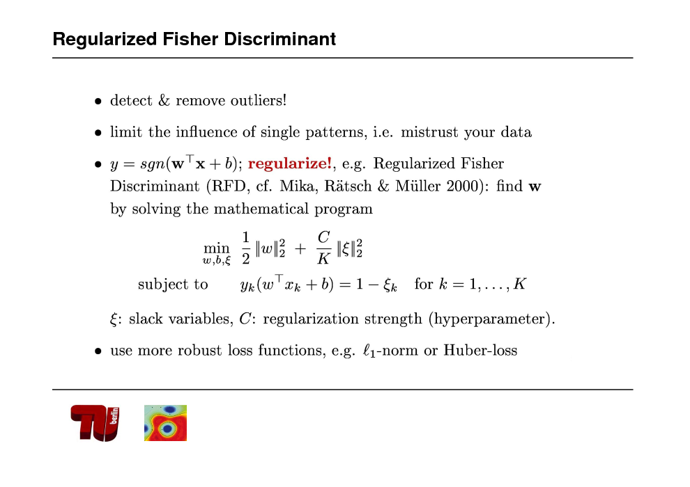 Slide: Regularized Fisher Discriminant
