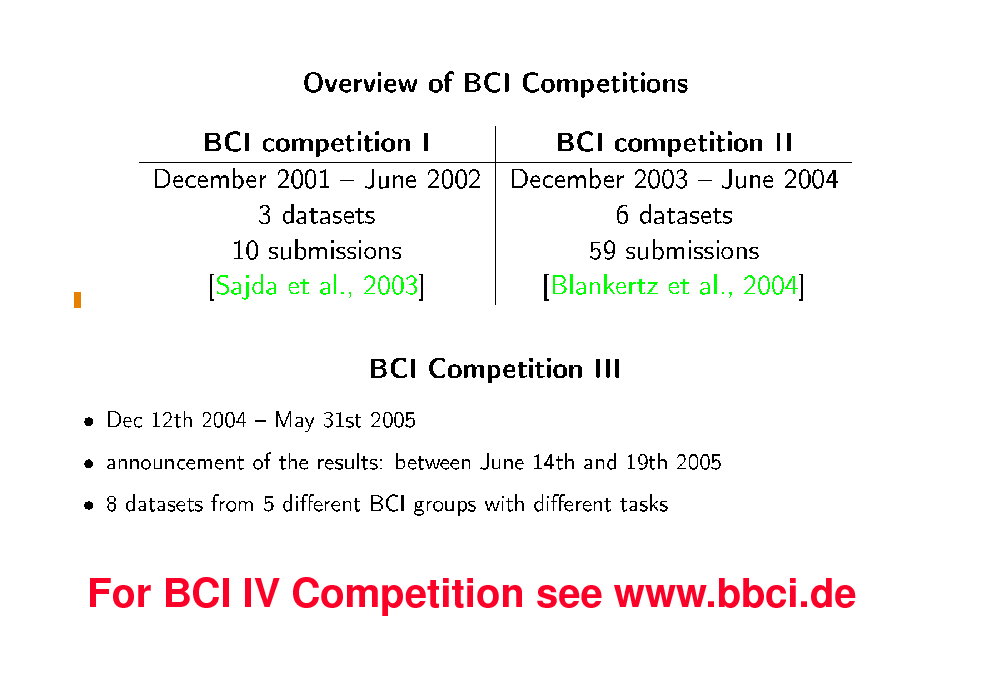 Slide: BCI Competitions  For BCI IV Competition see www.bbci.de