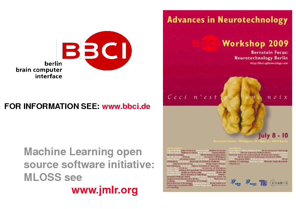 Slide: FOR INFORMATION SEE: www.bbci.de  Machine Learning open source software initiative: MLOSS see www.jmlr.org