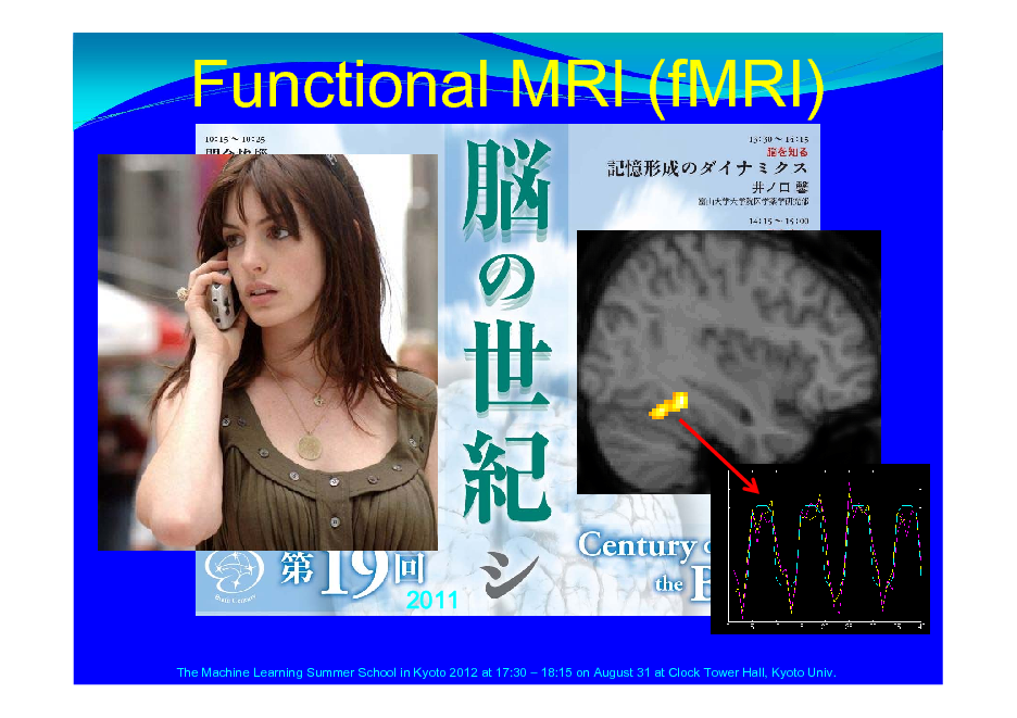 Slide: Functional MRI (fMRI)  2011 The Machine Learning Summer School in Kyoto 2012 at 17:30  18:15 on August 31 at Clock Tower Hall, Kyoto Univ.