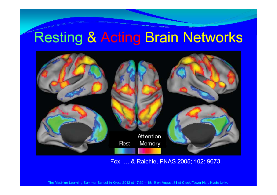Slide: Resting & Acting Brain Networks  Rest  Attention Memory  Fox,  & Raichle, PNAS 2005; 102: 9673.  The Machine Learning Summer School in Kyoto 2012 at 17:30  18:15 on August 31 at Clock Tower Hall, Kyoto Univ.