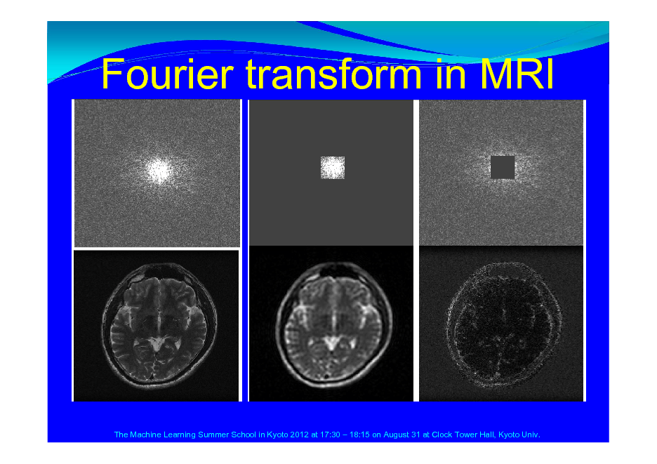 Slide: Fourier transform in MRI  The Machine Learning Summer School in Kyoto 2012 at 17:30  18:15 on August 31 at Clock Tower Hall, Kyoto Univ.