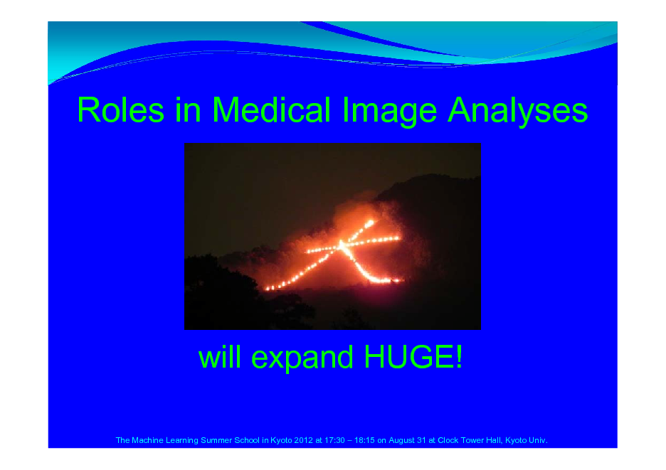 Slide: Roles in Medical Image Analyses  will expand HUGE! The Machine Learning Summer School in Kyoto 2012 at 17:30  18:15 on August 31 at Clock Tower Hall, Kyoto Univ.