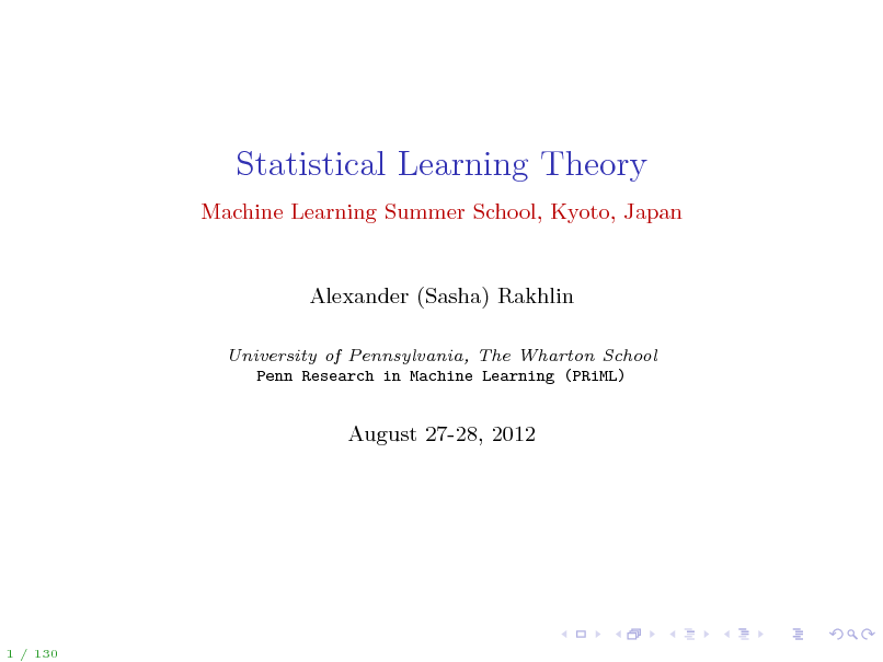 Slide: Statistical Learning Theory