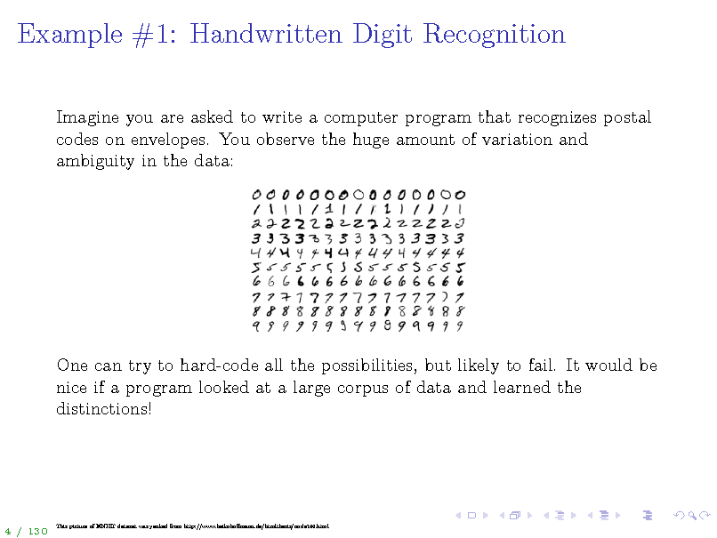 Slide: Example #1: Handwritten Digit Recognition