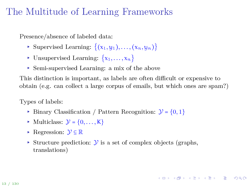 Slide: The Multitude of Learning Frameworks