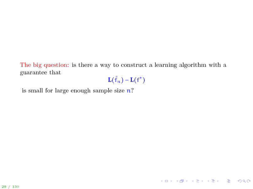 Slide: The big question: is there a way to construct a learning algorithm with a guarantee that  L(fn )  L(f ) is small for large enough sample size n?