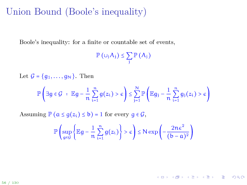 Slide: Union Bound (Booles inequality)