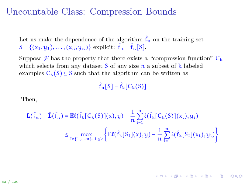 Slide: Uncountable Class: Compression Bounds