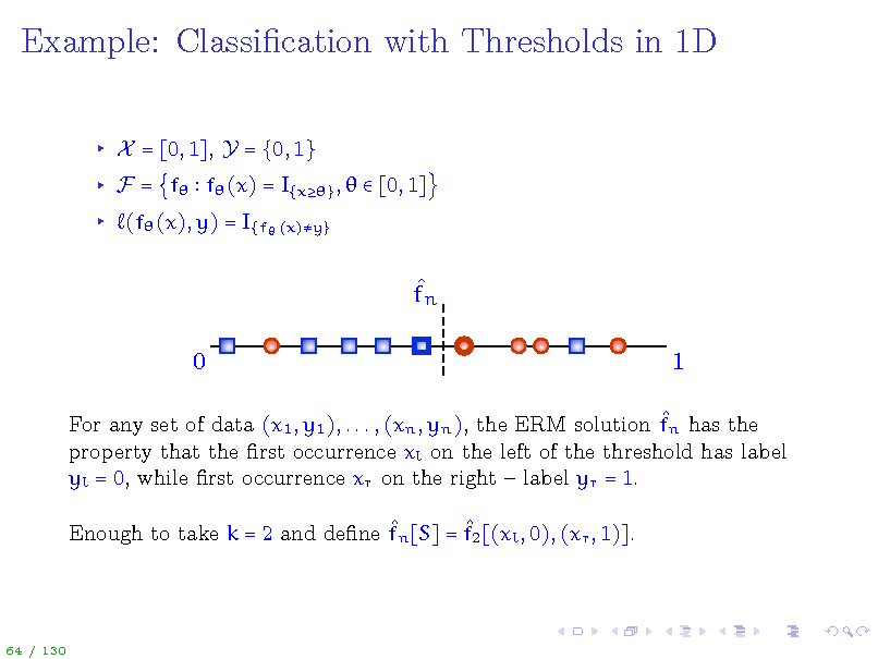 Slide: Example: Classication with Thresholds in 1D