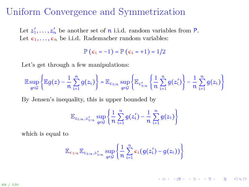 Slide: Uniform Convergence and Symmetrization
