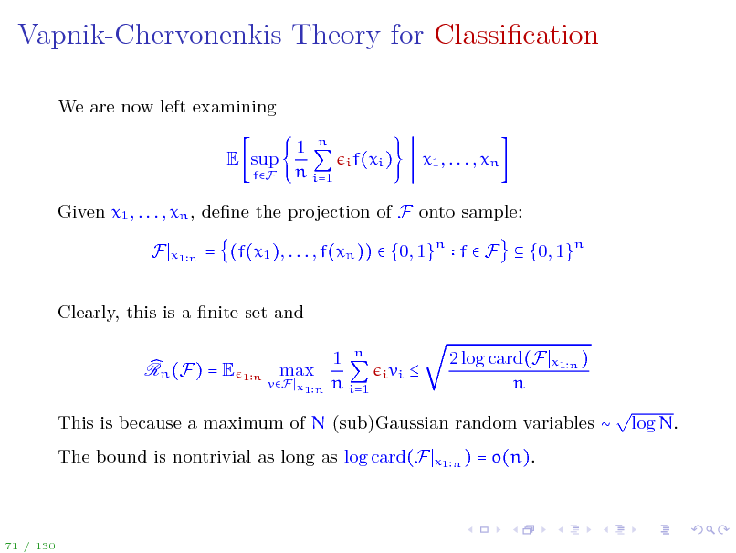 Slide: Vapnik-Chervonenkis Theory for Classication
