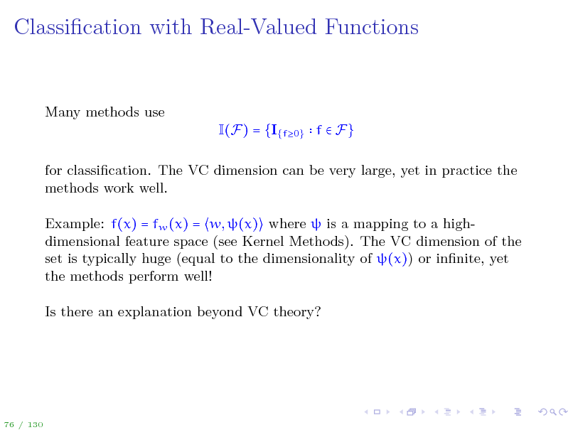 Slide: Classication with Real-Valued Functions