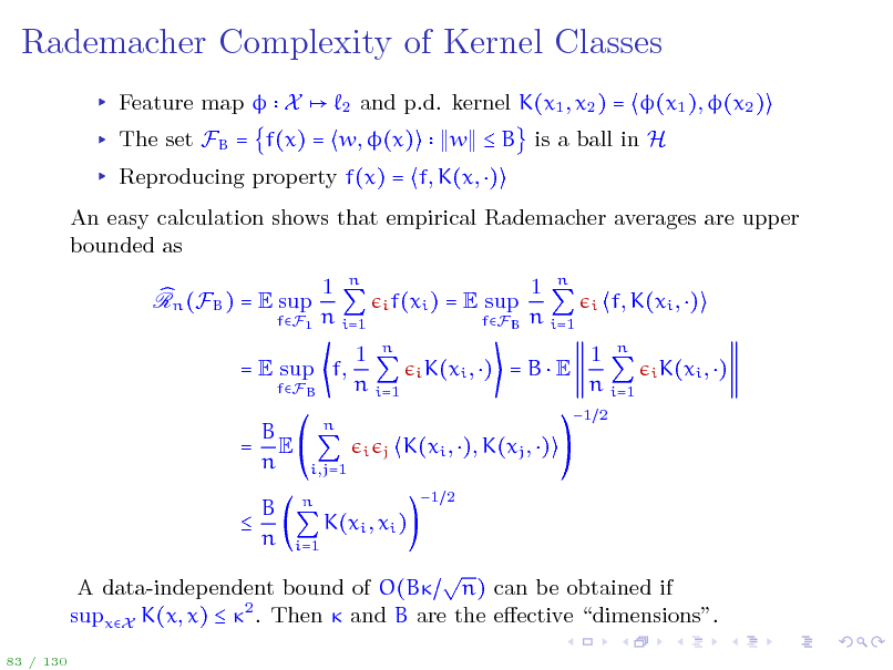 Slide: Rademacher Complexity of Kernel Classes
