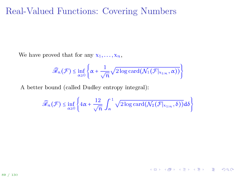 Slide: Real-Valued Functions: Covering Numbers