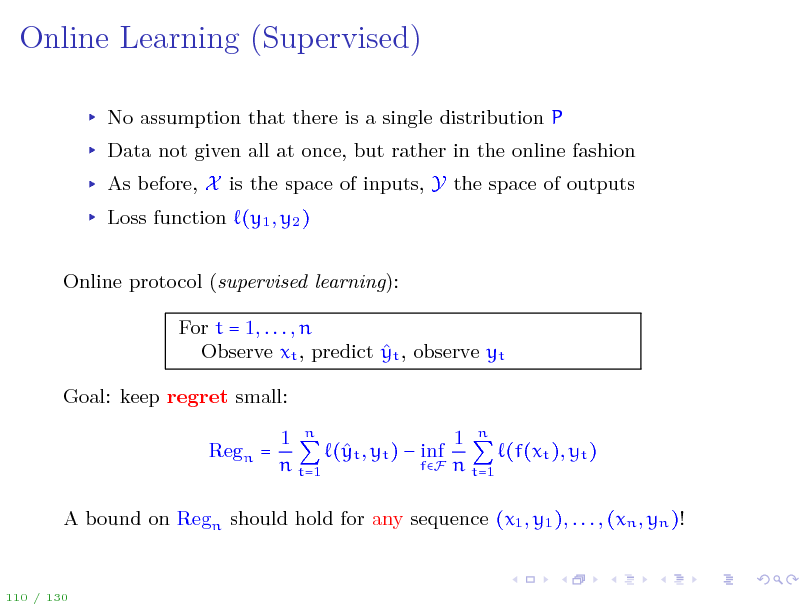 Slide: Online Learning (Supervised)