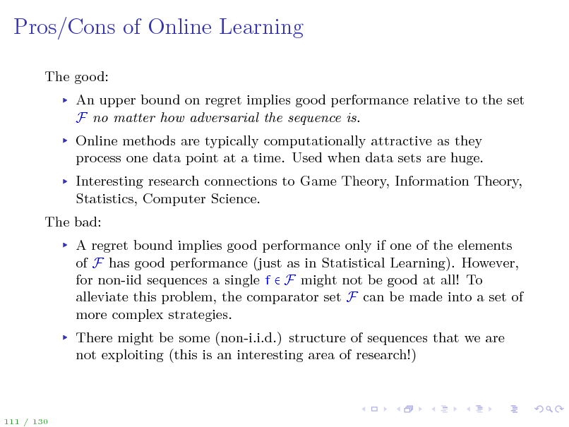 Slide: Pros/Cons of Online Learning