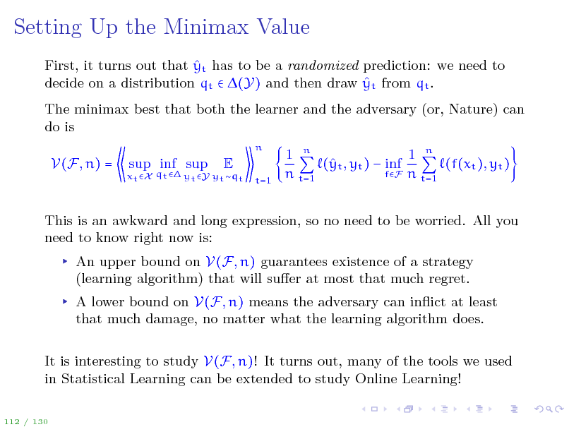 Slide: Setting Up the Minimax Value