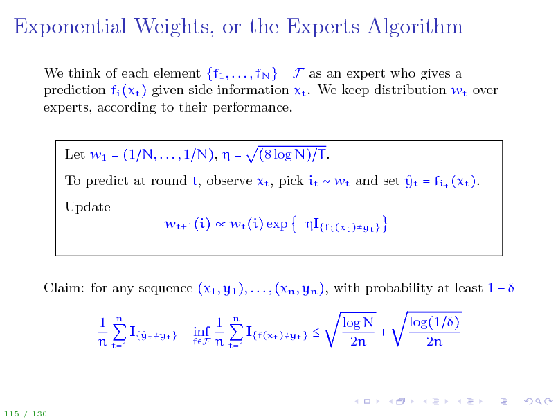 Slide: Exponential Weights, or the Experts Algorithm