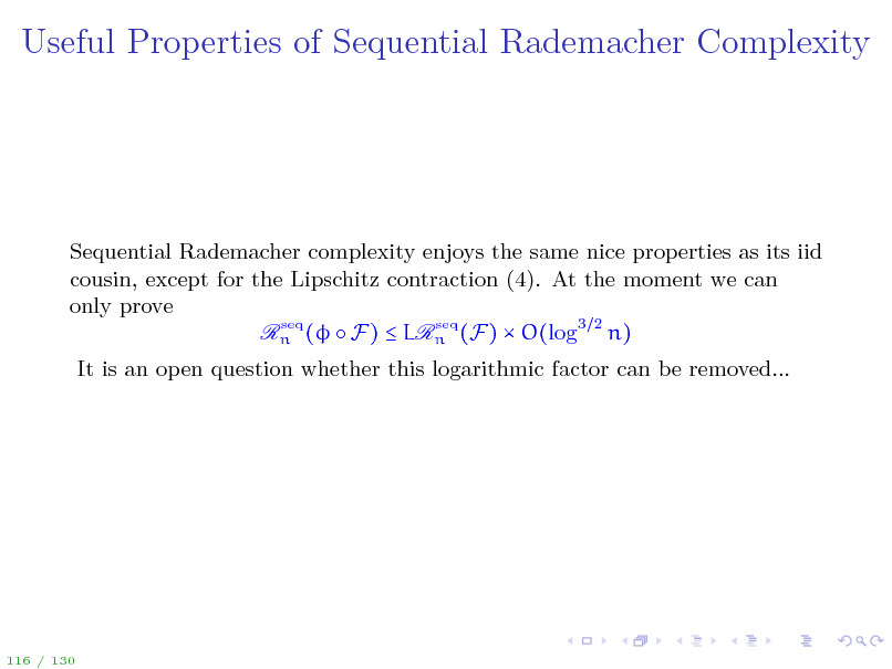 Slide: Useful Properties of Sequential Rademacher Complexity