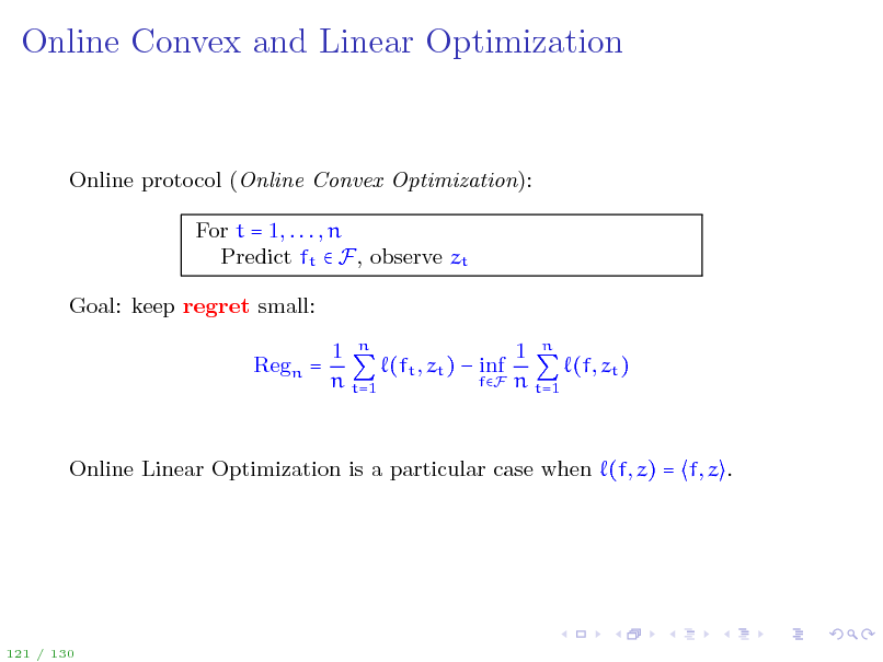 Slide: Online Convex and Linear Optimization